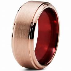 charming jewelers tungsten wedding band ring 8mm for men 18k rose gold plated