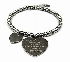 braccialetto vasco bracciale donna in acciaio sfere perline con cuore