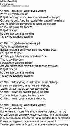 irish music song and ballad lyrics for marias wedding