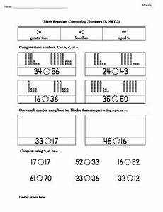 1st grade common core math worksheets 1 nbt 3 comparing numbers by jane keller