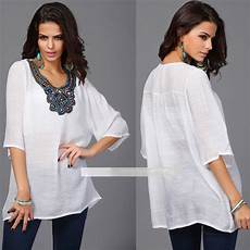 Top Blouse Tunique Encolure Bijou Boho Boheme Chic