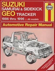 car engine repair manual 1996 geo tracker regenerative braking suzuki samurai sidekick geo tracker 1986 thru 1996 all models haynes automotive repair
