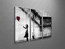 Banksy With Balloon Canvas Triptych Wall