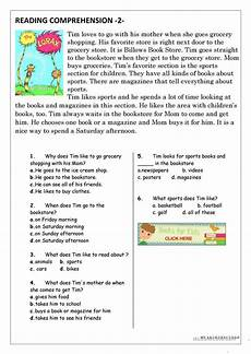 reading comprehension for beginner and elementary students 2 english esl worksheets for
