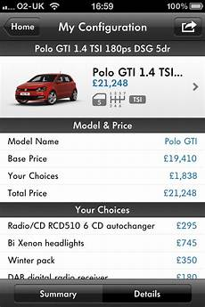 volkswagen uk comes to apple iphone with car configurator