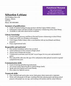 exles of functional resumes for high school students