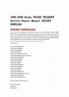 how to download repair manuals 1995 honda del sol on board diagnostic system 1995 2000 honda trx300 trx300 fw service repair manual instant downlo