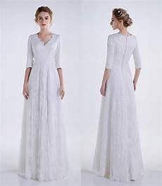 modest wedding gowns with 3 4 sleeves real 2019 white a line lace modest wedding dresses