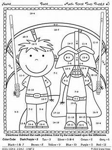 2nd grade color by number worksheets 16103 may the facts be with you 2 math set of color by codes puzzle printables maths puzzles