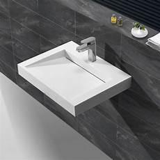 Lavabo Suspendu Rectangulaire 60x45 Cm Blanc Mat Composite