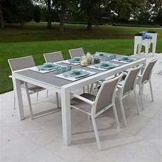 Gecko Jardin Table Alu Blanc Et Verre Gris 220 330x106
