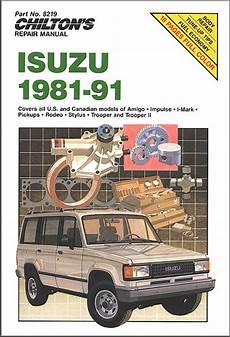 car manuals free online 1993 isuzu amigo transmission control isuzu amigo impulse rodeo trooper repair manual 1981 1991