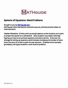 systems of equations word problems by mathguide tpt