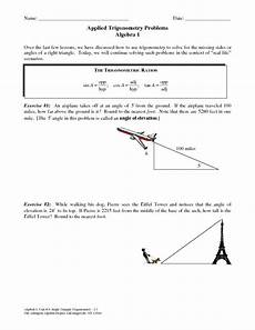 word problems trigonometry worksheets 11147 applied trigonometry problems worksheet for 9th 12th grade lesson planet