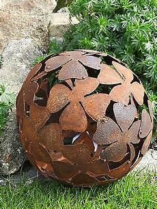 3 gartenkugeln kugeln edelrost metall rost garten deko