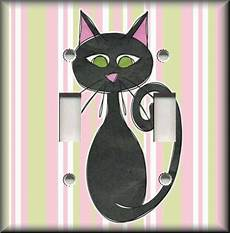 metal light switch plate cover black cat decor pink green stripes cat decor ebay