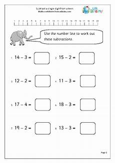 subtract from a 1 subtraction maths worksheets for