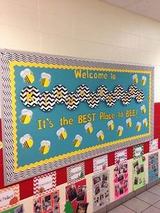 back to school bulletin board for a bee themed classroom i love the black and white chevron