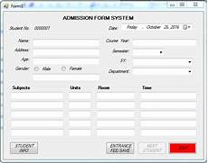 admission form system using vb net