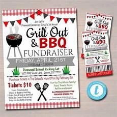 Raffle Ticket Fundraiser Flyer Poster Bbq Grill Out Fundraiser Flyer Ticket Poster Set