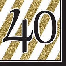 16 servietten 40 geburtstag black and gold