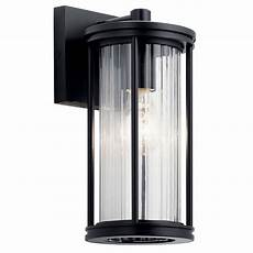 barras 11 5 quot 1 light outdoor wall light with clear ribbed glass black kichler lighting