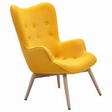 gelber sessel designer ohren sessel mit armlehnen aus wolle gelb anjo