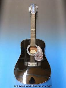soft acoustic guitar strings hondo model h 124 12b 12 string acoustic guitar in black laquered finish with soft