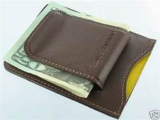 Brown Genuine Leather Magnetic Money Clip ID Business