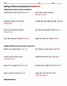 adding and subtracting polynomials algebra worksheet by pecktabo math