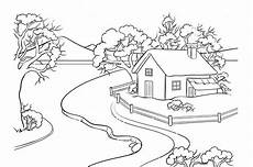 winter landscape coloring book vector illustrations
