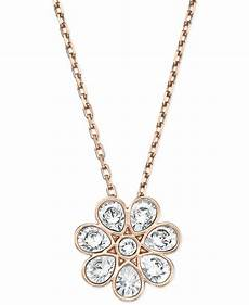 swarovski gold tone flower pendant necklace