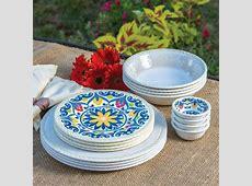 Melamine Dinnerware Set 16 Piece Indoor/Outdoor Ivory   eBay