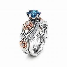 14k white gold floral wedding ring bridal 1ct blue topaz etsy