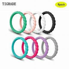 tigrade braid hypoallergenic silicone rubber ring band wedding engagement classical