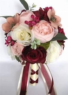 17 piece wedding bouquet package bridal silk flowers pink blush burgundy mauve ebay