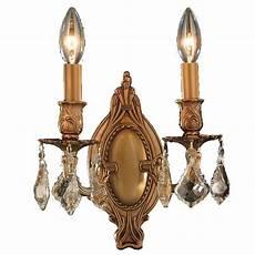 worldwide lighting windsor 2 light gold and golden teak crystal candle wall sconce