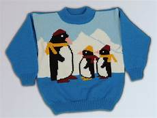 children s knit winter warm blue sweater with penguins