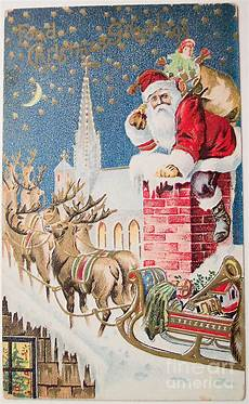 a merry christmas vintage greetings from santa claus and his raindeer painting by r muirhead art