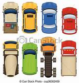 Cars Top View Illustration Of Different And Trucks