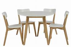 Table Ronde 4 Chaises Smogue Bois Blanc Style