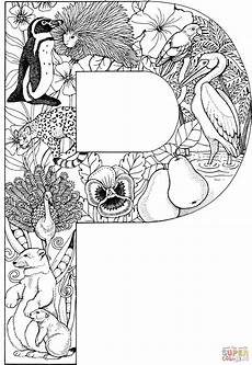 Ausmalbilder Buchstaben P Letter P With Animals Coloring Page Free Printable