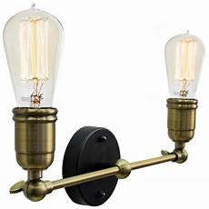 modern vintage industrial brass adjustable double arm wall light wd028 2 5055875552463