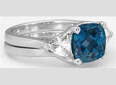 Cushion Cut London Blue Topaz and Trillion White Sapphire