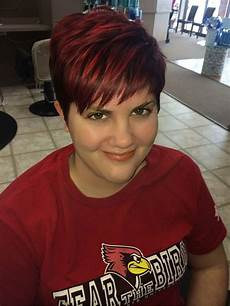 trendy fun short textured pixie hair cut and red velvet