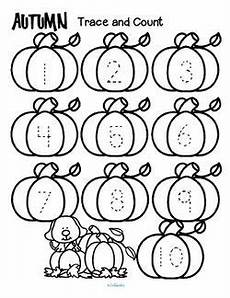 fall coloring worksheets for kindergarten 12917 fall theme tracing and counting printables count the sets recognize and trace the numbers add