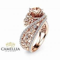 14k rose gold morganite engagement ring unique morganite engagement ri camellia jewelry