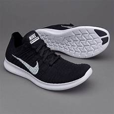nike free run flyknit black white mens shoes 831069 001