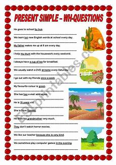 present simple wh questions esl worksheet by ildibildi