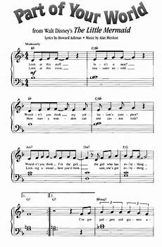 part of your world the little mermaid easy piano sheet music guitar chords walt disney